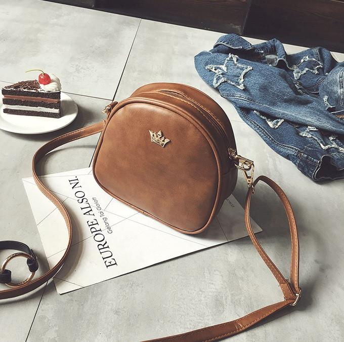 Жіноча міні сумка з короною Світло-коричневий