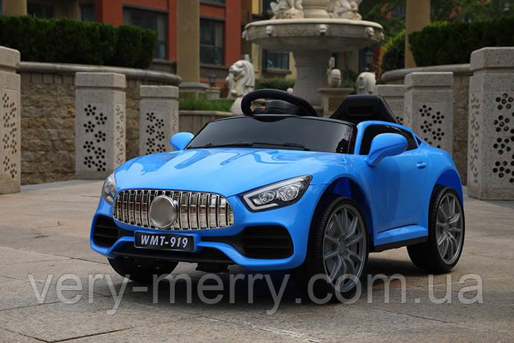 Дитячий електромобіль Mercedes (синій колір) з пультом радіоуправління Bluetooth 2.4G