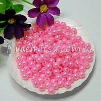 Бусины перламутровые ярко-розовые, 6 мм  (50 шт)