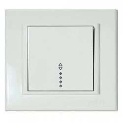 Выключатель 1-клавишный проходной с подсветкой белый MINA