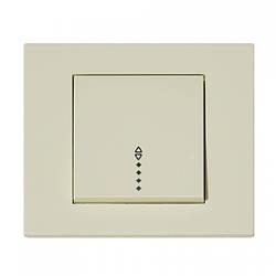 Выключатель 1-клавишный проходной с подсветкой кремовый GRANO