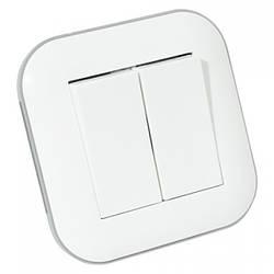 Вимикач 2-клавішний LOFT білий+сірий