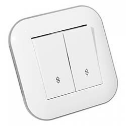 Вимикач прохідний 2-клавішний LOFT білий+сірий