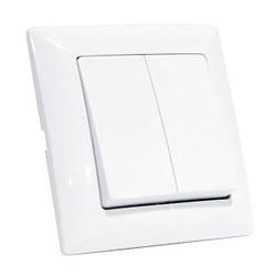 Выключатель 2-клавишный белый TINA