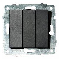 Механізм вимикача 3-клавишного GRANO черный