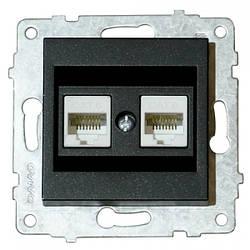 Механізм розетки комп'ютерної подвійної (CAT6) GRANO антрацит