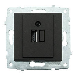 Механізм розетки з USB адаптером GRANO чорний