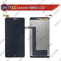 Оригинальный LCD дисплейный модуль на Lenovo S850 черный  в сборе с сенсорной панелью (тачскрином)
