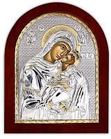 Икона Серебряная Божией матери Гликофилусса(Сладкое лобзание) Silver Axion (Греция)  85 х 100 мм