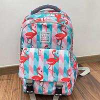 Рюкзак городский школьный для подростков VTTV IDIR портфель Фламинго для девочки розовый, фото 1