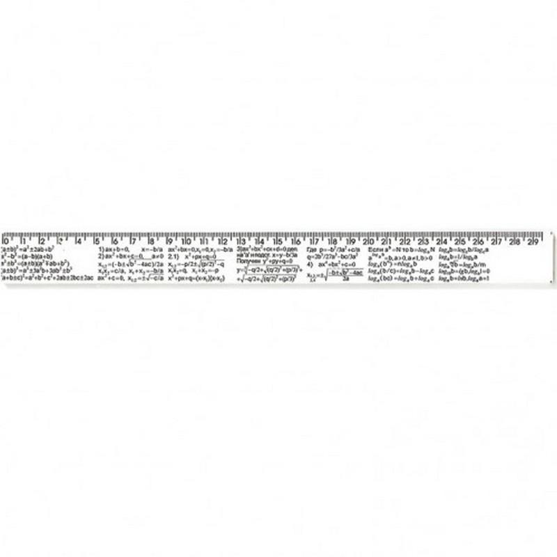 Лінійка пластикова 30 см біла АЛГЕБРА, у пакунку Атлас