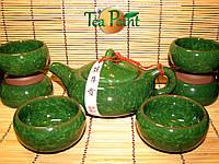 Чайный сервиз (исинская глина, селадон) 1 чайник и 6 пиал, фото 1