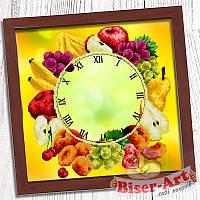 """Схема для часткової вишивки бісером Годинник """"Букет фруктів"""" Г - 016"""