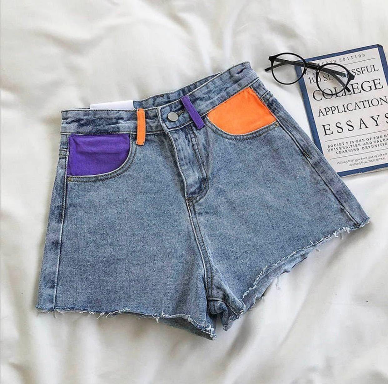 Жіночі джинсові шорти з неоновими вставками Сarroty/orange