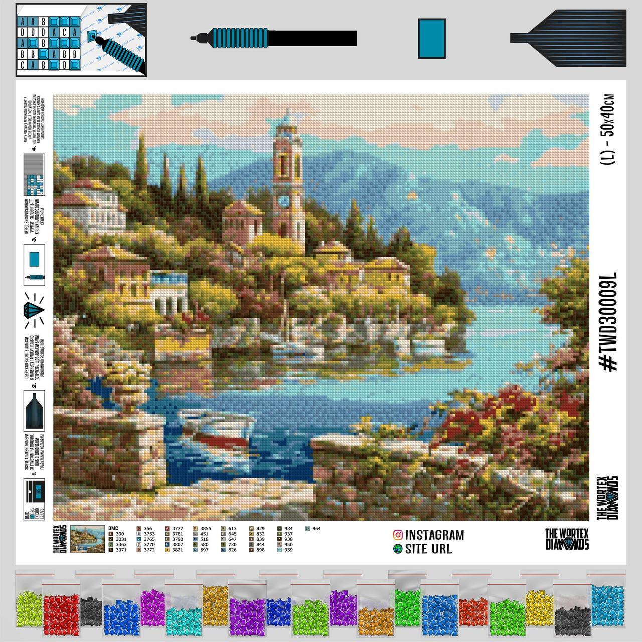TWD30009 Набор алмазной вышивки Река под городом