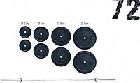 Штанга с дисками, 72 кг (гриф 1.5 м d-25 мм, блины: 2х15, 2х10, 2х5, 2х2.5)