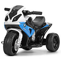 Дитячий Мотоцикл Електромобіль Bambi BMW з музичною панеллю, фарами, що світяться 69х35х36см, білий-синій, фото 1