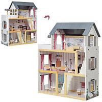 Дерев'яний триповерховий ляльковий будиночок з меблями на 4 кімнати з шпалерами, сходами і балконом 62х27х77см