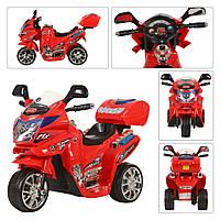 Дитячий Мотоцикл Електромобіль Bambi з музикою, сигналом і світяться фарами, до 25кг, червоний 82х44х56см