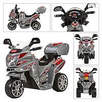 Детский Мотоцикл Электромобиль Bambi с музыкой, сигналом и светящимися фарами, до 25кг, серый 82х44х56см