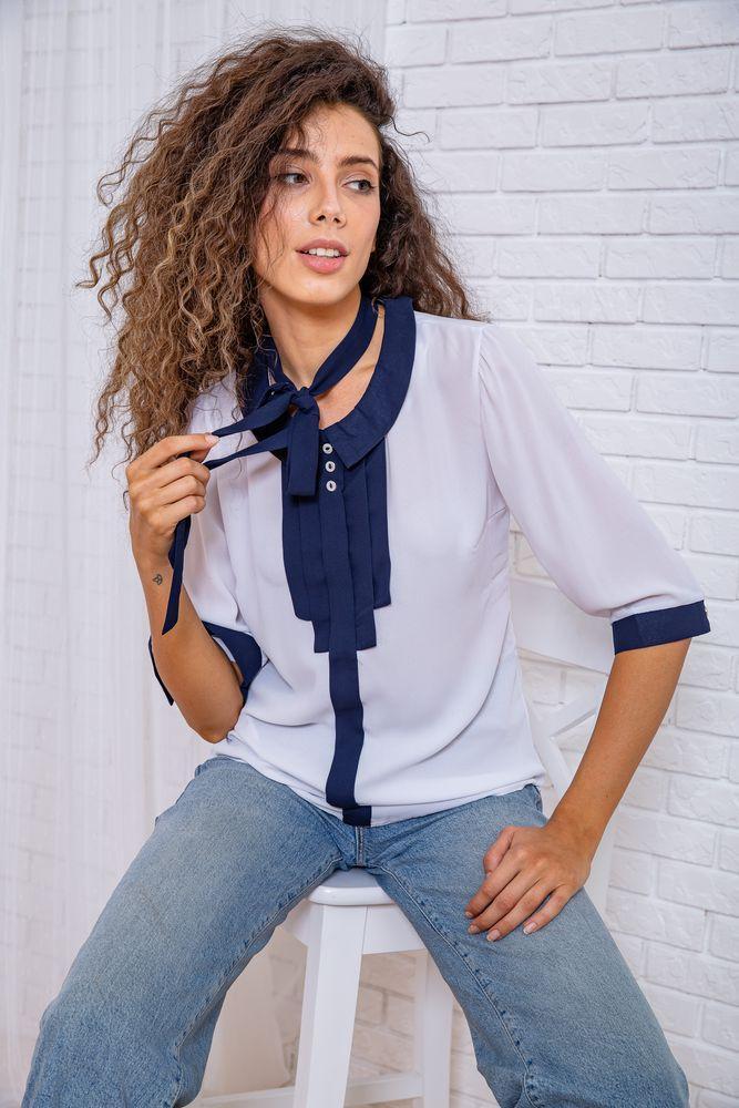 Блуза жіноча колір біло-синій розмір 46 SKL87-297817