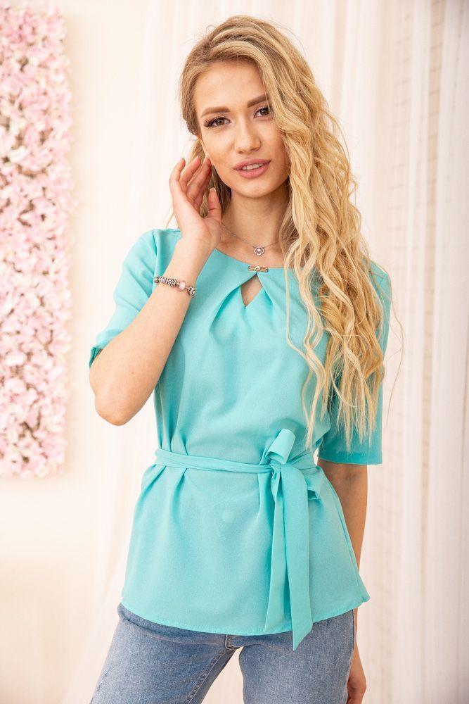 Блуза женская цвет бирюзовый размер 46 SKL87-297854