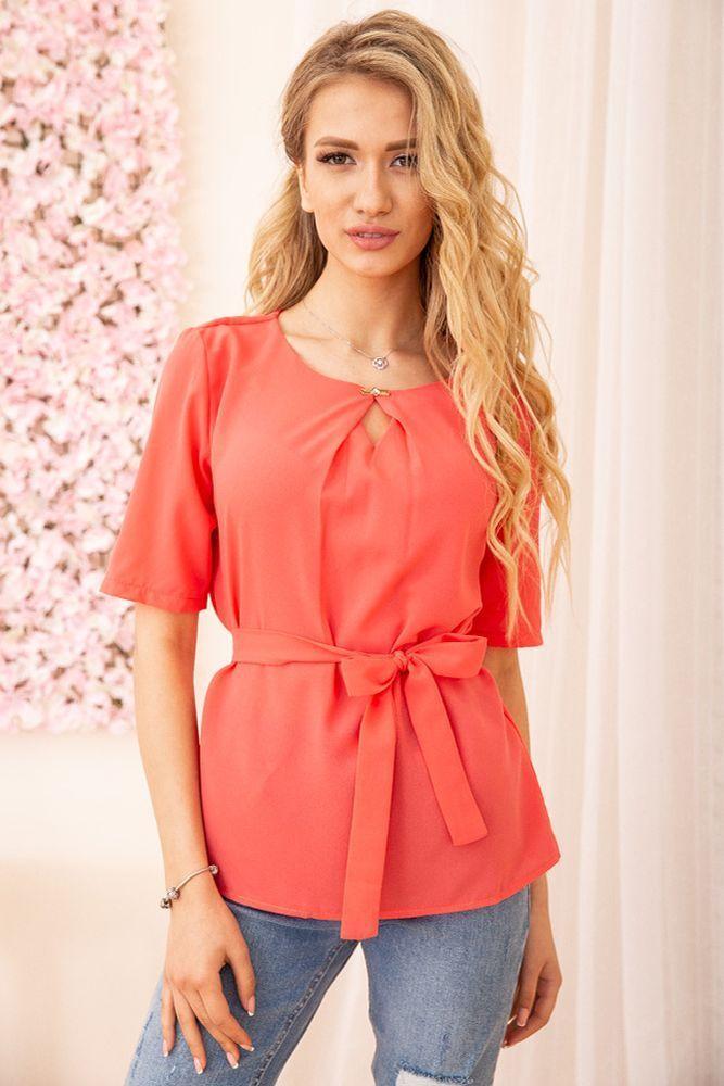 Блуза жіноча колір кораловий розмір 48 SKL87-297863