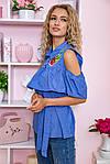 Блуза жіноча колір джинс розмір 46 SKL87-297881, фото 4
