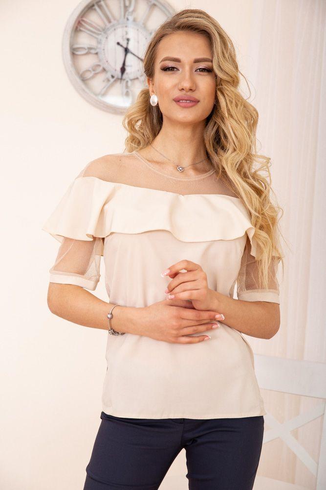 Блуза жіноча колір бежевий розмір 48 SKL87-297993