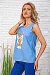 Майка жіноча колір блакитний розмір S SKL87-300992, фото 3