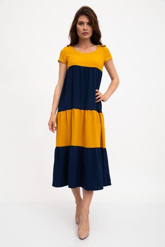 Платье цвет горчично-синий размер XS SKL87-301582