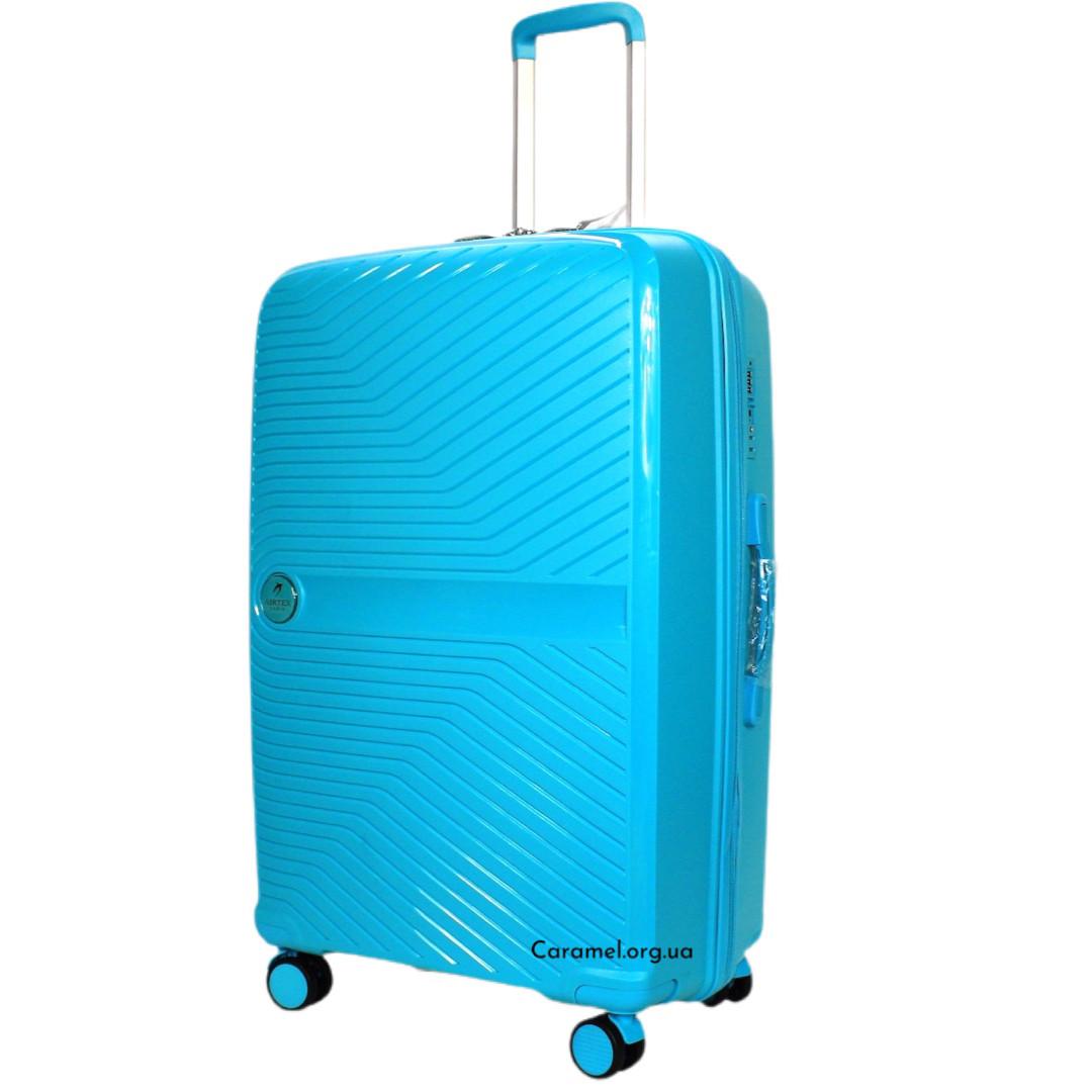 Чемодан полипропиленовый на 4х колесах большой L голубой | 29х75х48 см | 4.200 кг | 105 л | AIRTEX 280