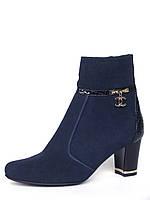 Классические женские ботинки из синей замши