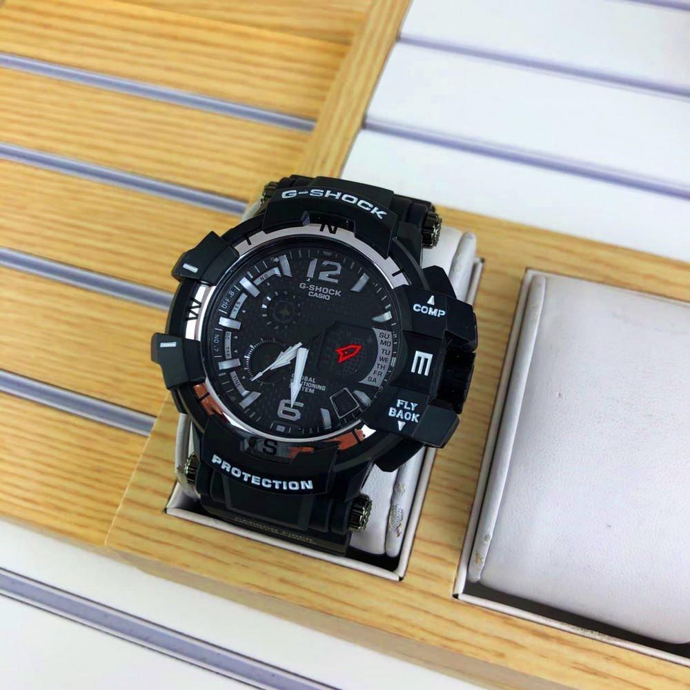 Наручні чоловічі водостійкі електронні годинник Casio G-Shock GPW-1000 Protection спортивні годинники чорні