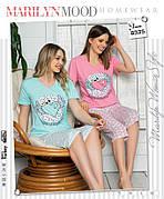 Пижама женская футболка и капри хлопок 100 % 2 цвета Турция № 8335
