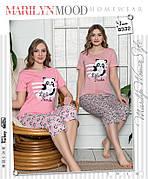 Пижама женская футболка и капри хлопок 100 % 2 цвета Турция № 8332