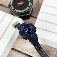 Наручные мужские водостойкие электронные часы Casio G-Shock GW-A1100 Black-Blue спортивные часы, фото 2