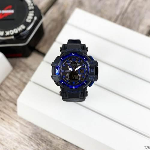 Наручные мужские водостойкие электронные часы Casio G-Shock GW-A1100 Black-Blue спортивные часы