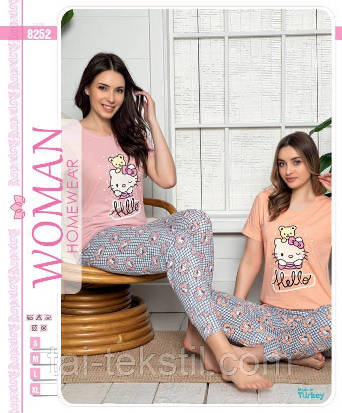 Піжама жіноча футболка і штани на манжеті бавовна 100 % 2 кольори Туреччина № 8352