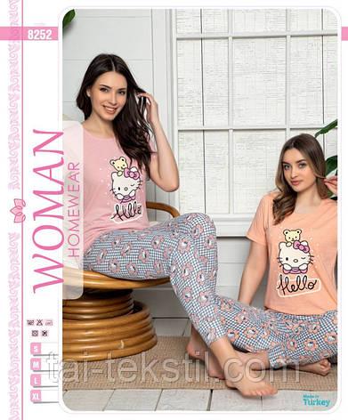 Піжама жіноча футболка і штани на манжеті бавовна 100 % 2 кольори Туреччина № 8352, фото 2