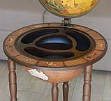 Глобус бар напольный из дерева на 3х ножках, фото 3
