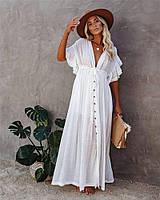 Белая пляжная накидка женская свободного кроя длинная ,пляжная туника, накидка на купальник