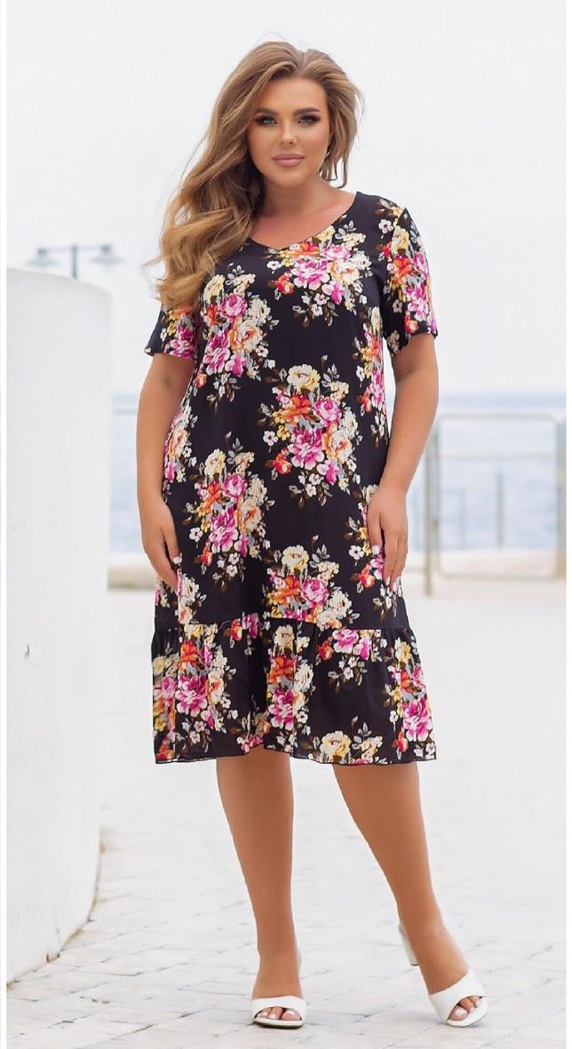 Платье летнее батал NOBILITAS 48 - 58 черное штапель (арт. 21027)