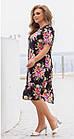 Платье летнее батал NOBILITAS 48 - 58 черное штапель (арт. 21027), фото 2