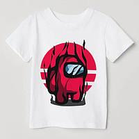 """Дитяча футболка з накаткою """"Амонг Ас"""". Білий колір. (Роздріб)."""