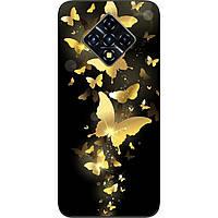Силиконовый чехол для Infinix Zero 8 с картинкой Золотые бабочки