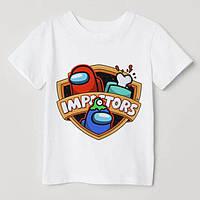 """Дитяча футболка з накаткою """"Impostors"""". Амонг Ас. Білий колір. (Роздріб)."""