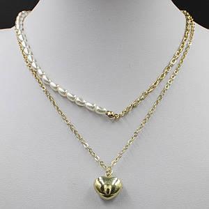 Жіноче кольє CHANEL двох рядне колір золото довга ланцюжок 55 см з перлами і кулонам у вигляді серця