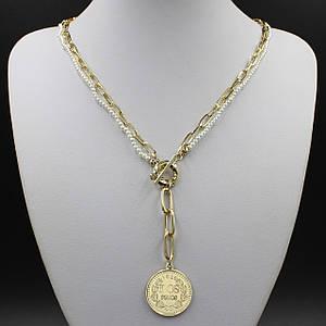 Жіноче кольє CHANEL двох рядне колір золото довга ланцюжок 55 см з перлами і кулонам у вигляді монетки