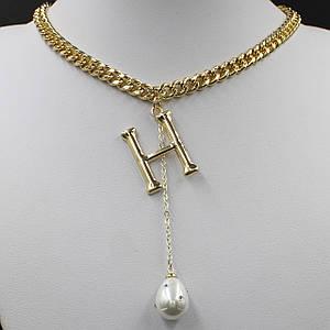 Жіноче кольє Hermès колір золото масивні ланцюжок 55 см з кулонам у вигляді букви і перлиною